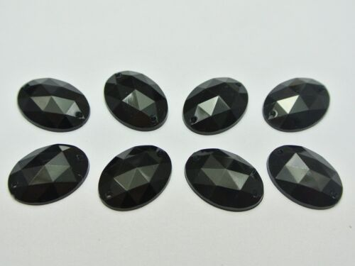 100 Jet Black Flatback Acrylic Oval Rhinestone Button 13X18mm Sew on beads