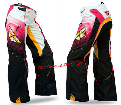 CLEARANCE New Fly Racing Kinetic WOMENS ADULT GIRLS Overboot Pants PINK-ORANGE