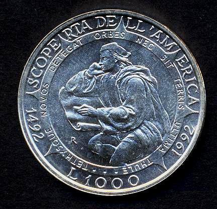 FDC SAN MARINO 1000 Lire 1992 Scoperta dell/'America AG 515