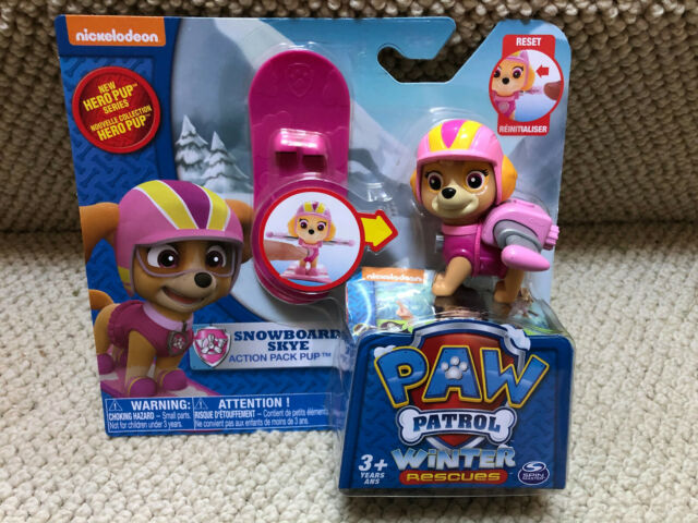 RARE! Nickelodeon PAW PATROL SKYE SNOWBOARD Winter Rescue Action Pack pup Toy
