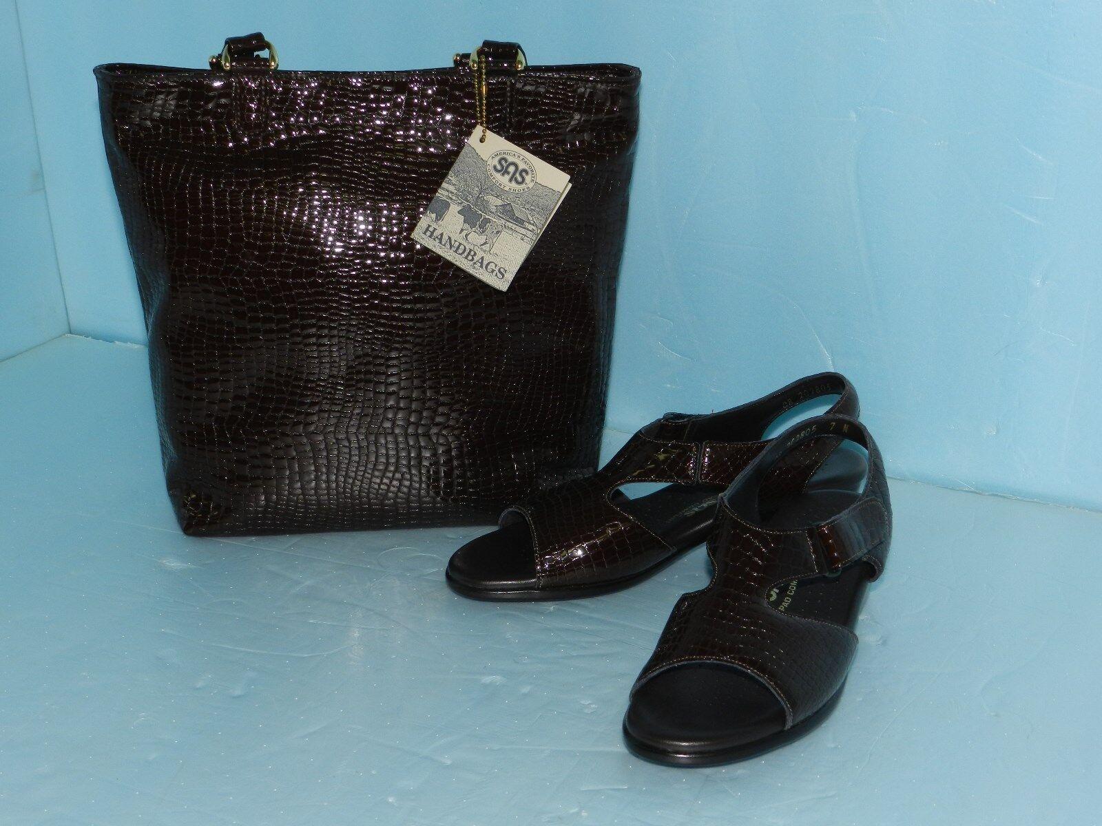 SAS~Gorgeous Tripad Embossed Leather Alligator Sandals & NOS Purse w/ Tags~ NOS & 1166de