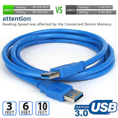 3ft 6ft 10ft USB 3.0 Cable A Male to A Male Type High Quality Super Speed Cord