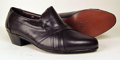 Men's Cuban Heel Leather Dress Shoe - Dark Brown or Black - Brand New (M882)