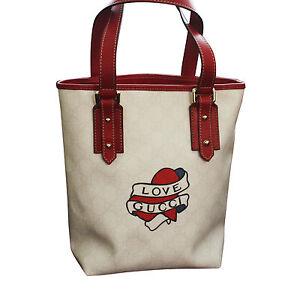 c329b7531 NEW GUCCI Heart Tattoo Tote Bucket BAG HANDBAG w/ Big Love Gucci ...