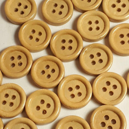 25pcs en bois clair couture boutons 4 trous 15 mm Scrapbook Craft Supplies B10381