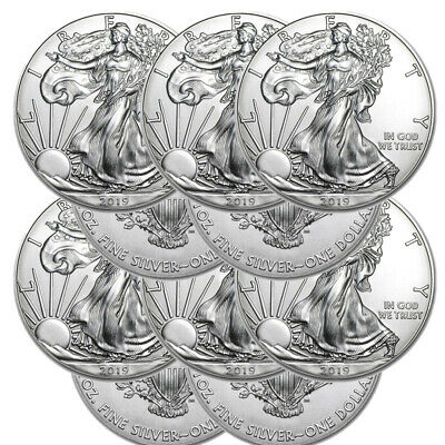 Lot of 3 Silver 2019 American Eagle 1 oz Coins .999 fine silver US Eagles 1oz