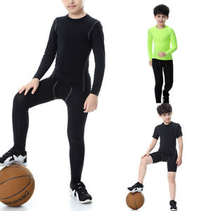 Kids-Compression-Base-Layer-Top-Tights-PRO-Gym-Sports-T-Shirt-Pants-Boys-Girls