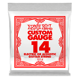 Ernie Ball .014 Plain Steel Electric or Acoustic Guitar String 6 Pack 1014