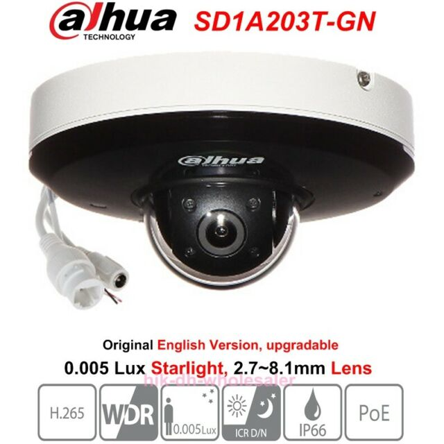 Dahua SD1A203T-GN 2MP 3x Zoom Starlight PTZ Camera H 265 IR15m WDR PoE  Network