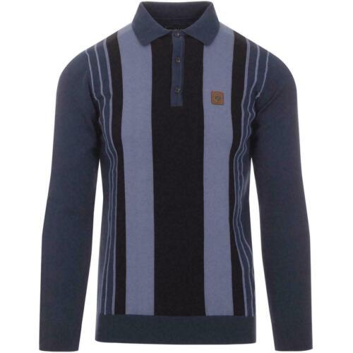 Homme TROJAN Panneau Rayure Tricot Coton Polo Pull 8455-Bleu