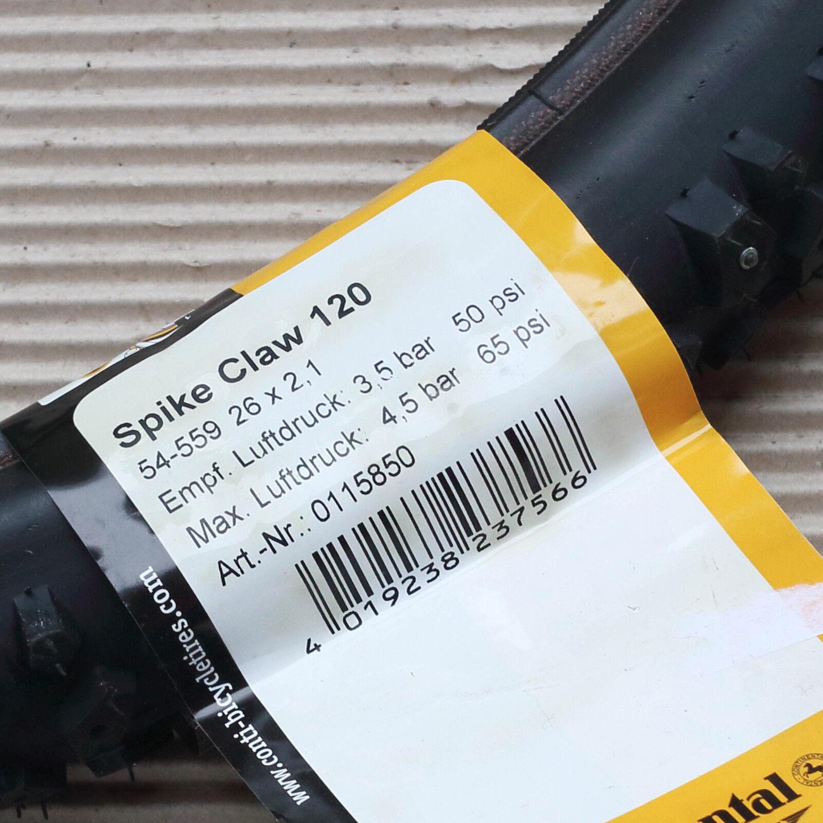 CONTINENTAL Reifen Conti Spike Spike Spike Claw 120 Spikes 26x2.10  54-559 schwarz-Skin 99f92c