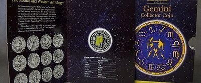 Flight Tracker Rare 2011 Cook Is.silver Color Proof$1 Zodiac-gemini/mercury-folder,mintage 2500