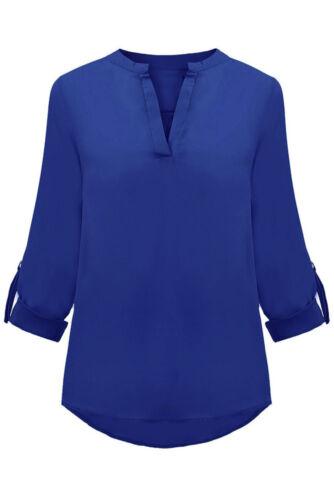 Femmes Crêpes bruns Chemisier Tunique Chemise Shirt Turn Up manches Business Chemise Longue S 34 36 38
