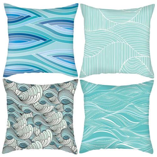 "Set of 4 Throw Pillow Case 18/"" Blue Green Sofa Waist Cushion Cover Bed Car Decor"