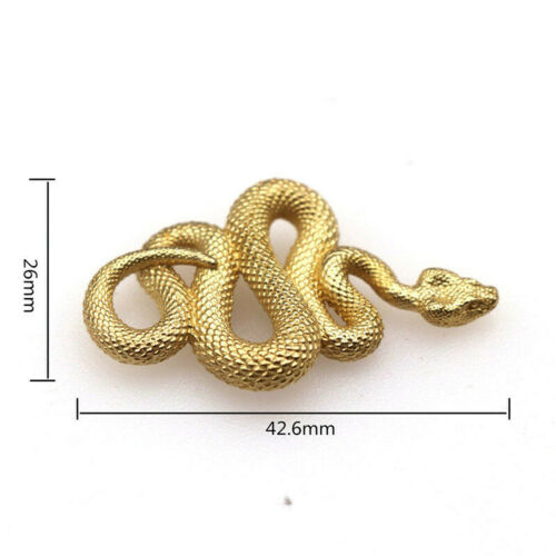 2Pieces Snake Brass Keyring Pure Copper Python Car Key Pendant Leather Craft Set