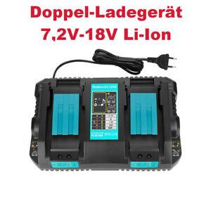 Doppel-Ladegerät Akku Ladestation 7,2V-18V Li-Ion für Makita BCL182 BCL182Z