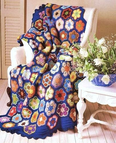 Easy Crochet Pattern Vintage Hexagon Afghan Blanket Bedspread Throw