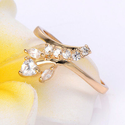 Korean Jewelry 14K Yellow Gold Filled Clear CZ Heart Ring Size 8.5 Girls