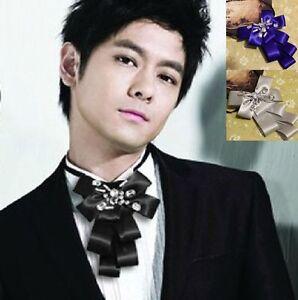 2faaf17d2098 Handmade Black Ribbon Smart Mens Wedding Pre Tied Crystal Necktie ...