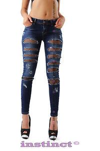 5a4ac36fa696 Caricamento dell'immagine in corso Jeans-strappi-donna-strappati-pantaloni -stretti-pizzo-rete-