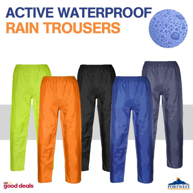 Portwest Active Waterproof Rain Trousers Over Pants Lightweight Unisex S441