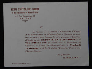 Carte-invitation-SOCIETE-HORTICULTURE-D-039-ANGERS-Maine-et-Loire-fleur-Flower