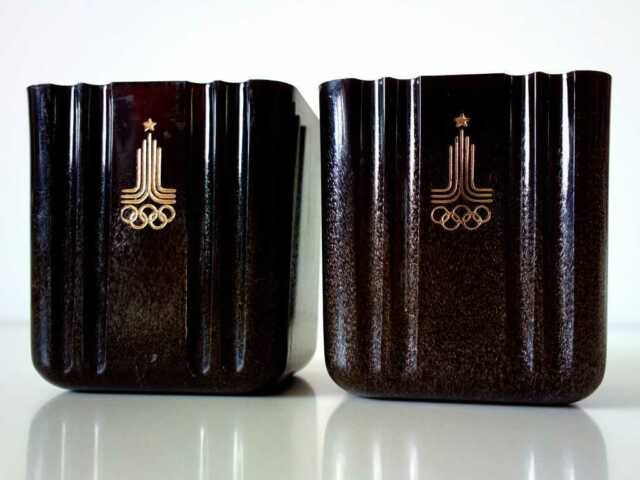 UNIQUE VINTAGE Bakelite Desk STAND Holder RARE 1980 MOSCOW OLYMPIC RUSSIA USSR