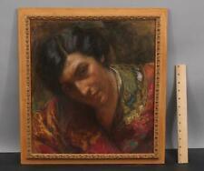 Antique Original CARLO WOSTRY Pastel Portrait Drawing of Italian Woman
