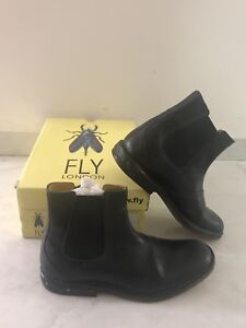 Mens-Fly-London-Fashion-Leather-Flat-Dealer-Chelsea-Boots-COLOR-BLACK-SIZE-US-8
