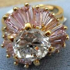 Clear Cubic Zirconia Pink Baguette 18K Gold over 925 Sterling Silver Ring