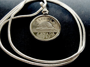 1987-CANADIAN-COIN-5-CENT-PROOF-PENDANT-on-a-24-034-18k-White-Gold-Filled-Chain