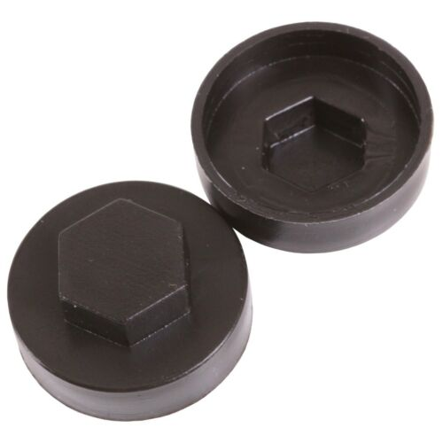 50x HEXAGON COVER CAPS Colour BLACK Weatherproof Roofing Fastener Screws 19mm