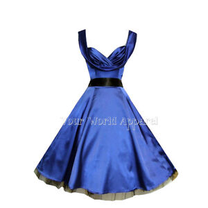 hampr london blue satin party swing 1950s evening dress