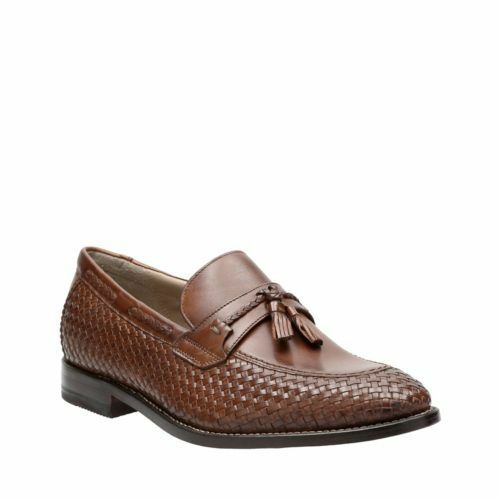 NEW Uomo CLARKS TOR COLLECTION TWINLEY FREE LEATHER SLIP ON TASSEL LOAFER Scarpe