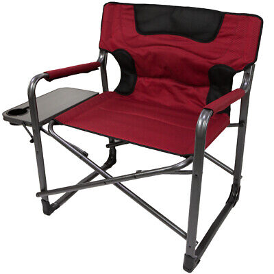 Red Ozark Trail XXL Folding Padded Director Chair with Side Table