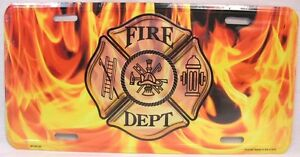 Fire Dept Fighter Flames License Plate Car Truck Tag Fireman Firefighter Rescue