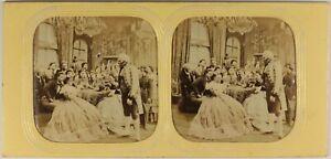 Scena Da Genere Salon Robe c1860 Foto Stereo Diorama Albumina Vintage