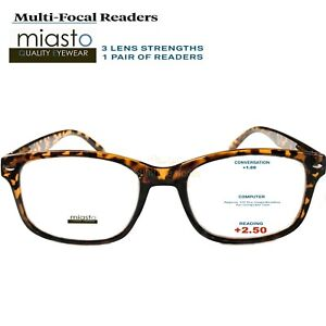 56eba95e60 Image is loading MIASTO-MULTI-FOCAL-RECTANGLE-COMPUTER-READER-READING- GLASSES-