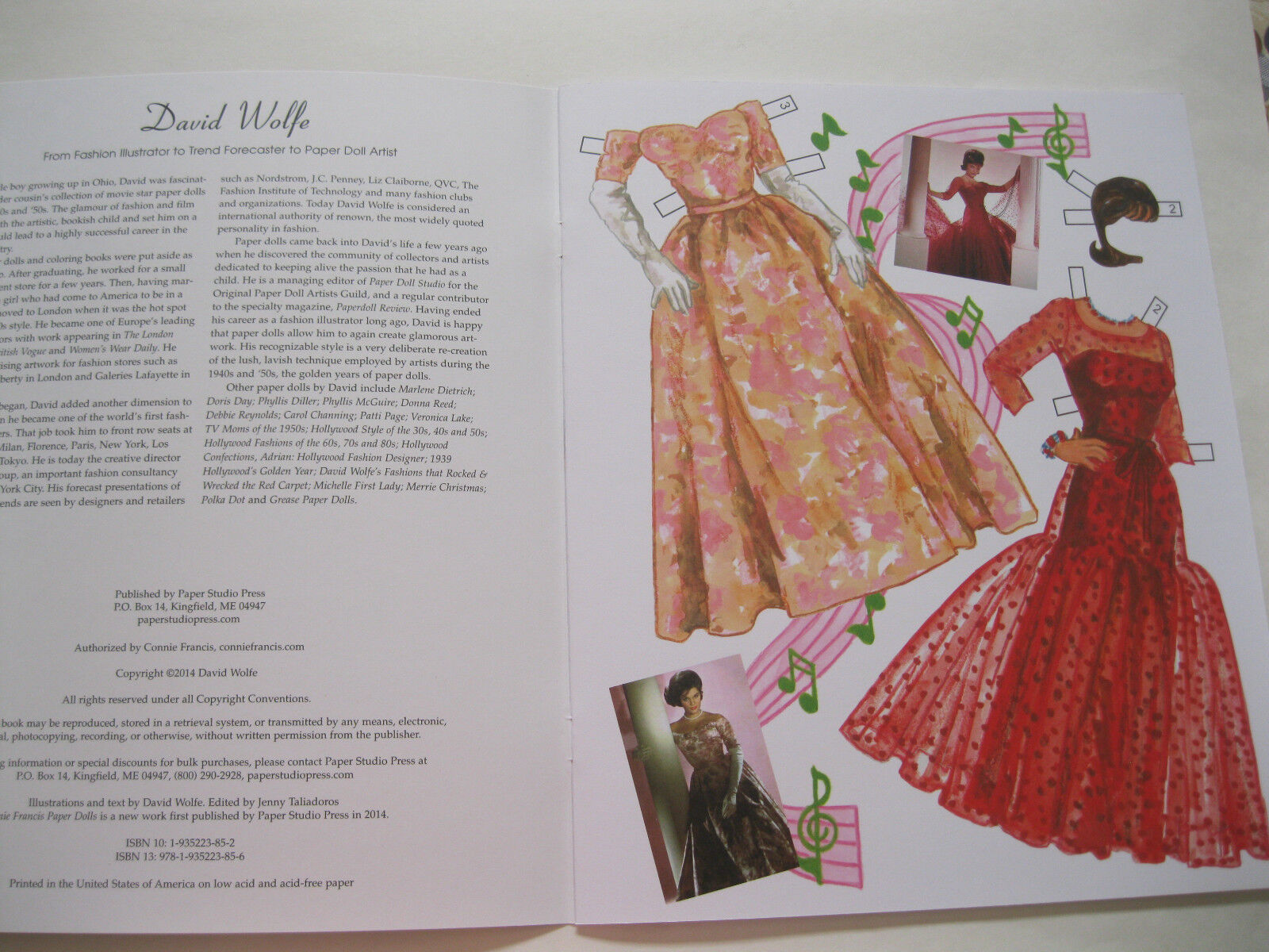 CONNIE FRANCIS Paper Doll Book w// 3 Dolls and 31 Fashions--AUTHORIZED EDITION!