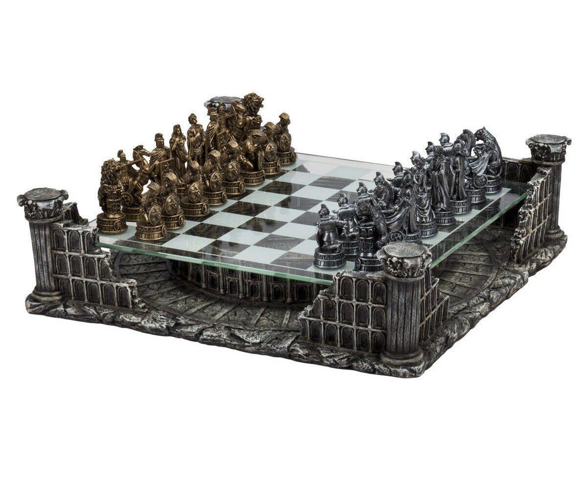 16  Rouomo Gladiators Chess Set With Colosseum Platform  Metal Pewter 3  re nuovo  migliori prezzi e stili più freschi