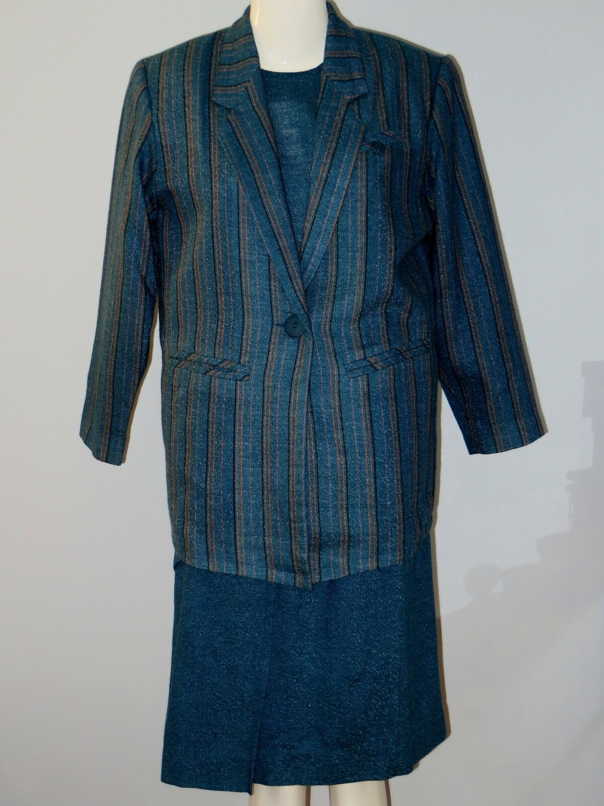 AMI Size 9 bluee 3-Piece Long Sleeve Striped and Solid Skirt Suit