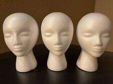 3 White Female Styrofoam Foam Mannequin Head Models Wig Glasses Display Stands
