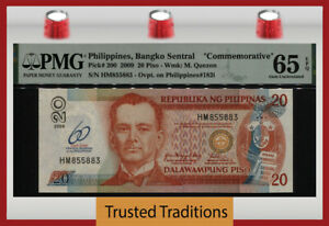 TT PK 200 2009 PHILIPPINES 20 PISO COMMEMORATIVE M. QUEZON PMG 65 EPQ GEM UNC!