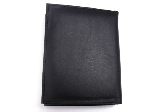 MENS NEW REAL BLACK LEATHER WALLET CREDIT CARD HOLDER PURSE ID PHOTO GIFT BOXED