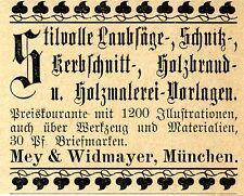 Mey & Widmayer München LAUBSAEGE u. BASTEL VORLAGEN Historische Reklame von 1895