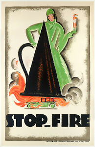 Original-Art-Deco-Poster-Charles-Loupot-STOP-FIRE-Automobile-Voiture-1925