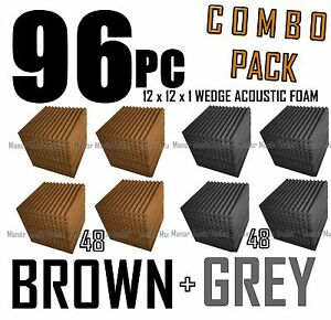 ComBo-96-pack-BROWN-and-charcoal-GREYAcoustic-Wedge-Sound-Studio-Foam-12x12x1