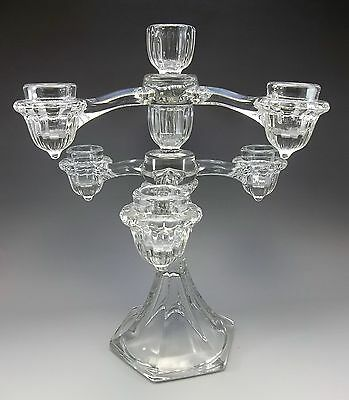 Vintage Cambridge Arms Clear Glass 1940's Epergne Candle Holder Stick