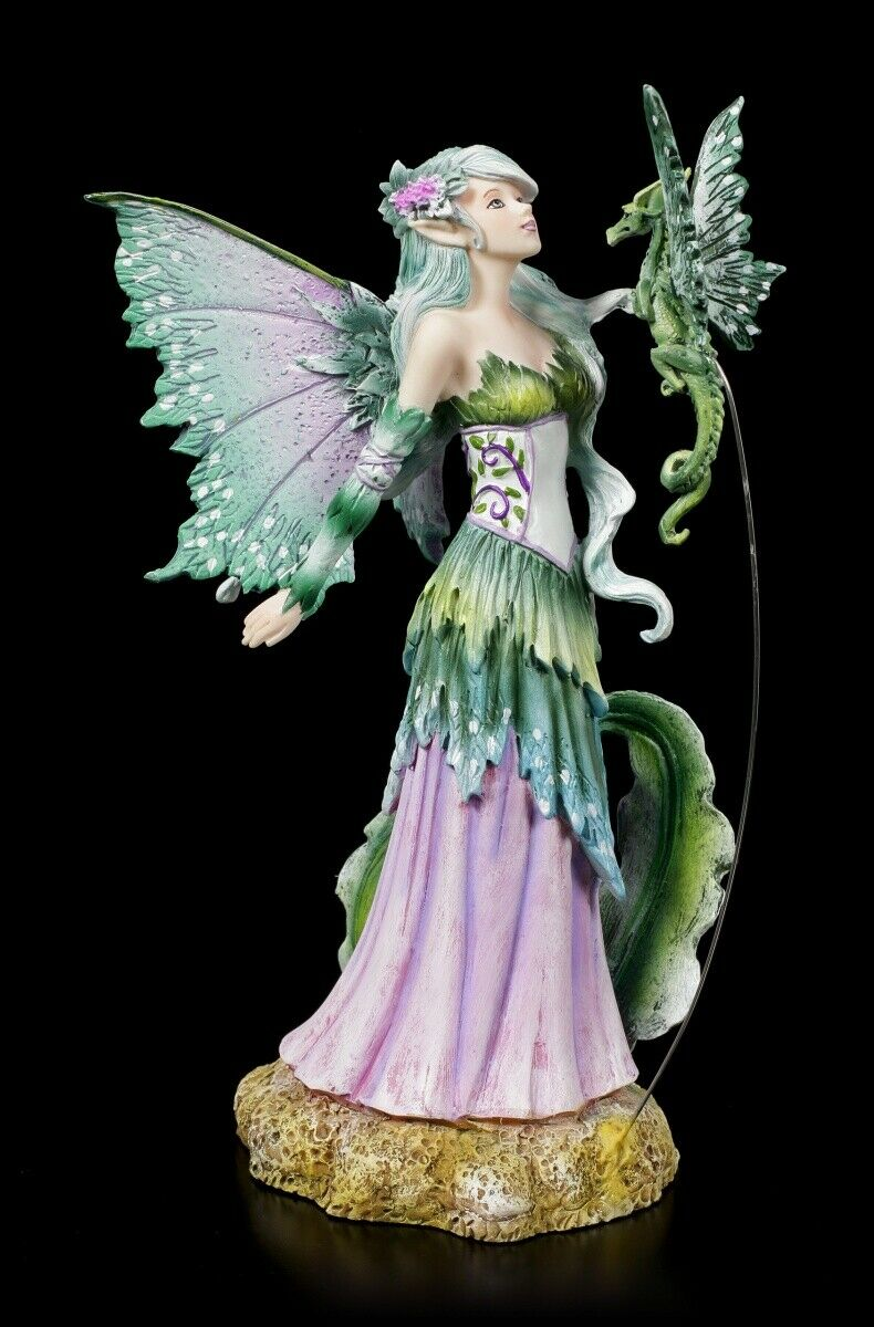 Elf Figures with Dragon Discovery by Amy marron Fantasy Fairy Drachenelfe Statue