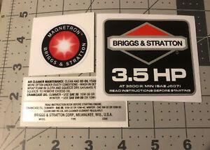 Briggs & Stratton 3.5 hp 1986-91 Black Shroud Labels Decals set of 4